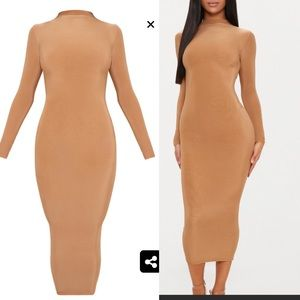 Slinky high neck midi dress